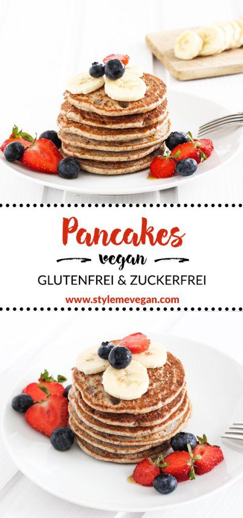 Vegane Pancakes ohne Zucker und glutenfrei